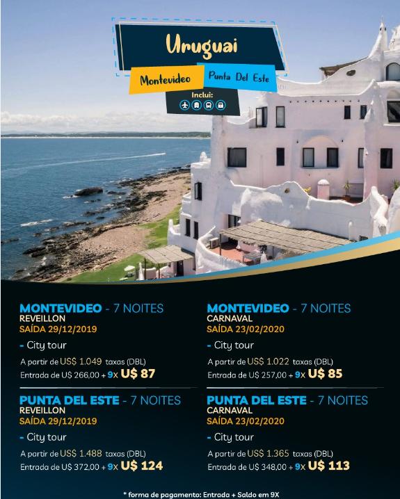 MONTEVIDEO E PUNTA DEL EST - BLOQUEIOS DE DATAS NO AÉREO & TERRESTRE - 23/02 A 01/03;